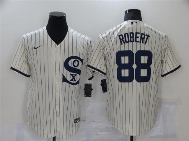 Chicago White with name Sox #88 Luis Robert White with name 2021 Field of Dreams Cool Base Jersey