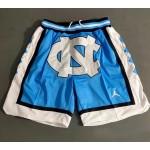 North Carolina JUST DON blue dense embroidered pocket shorts