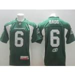 CFL Saskatchewan Roughriders BAGG #6 Green jersey