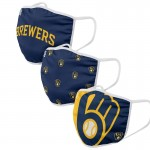 Milwaukee Brewers Adult Cloth Face Covering 3-Pack