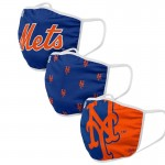 New York Mets Adult Cloth Face Covering 3-Pack