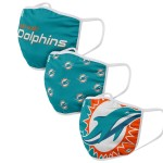 Miami Dolphins Adult Face Covering 3-Pack