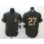 MLB Los Angeles Angels #27 Mike Trout Olive 2020 Nike Cool Base Jersey