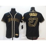 MLB Los Angeles Angels #27 Mike Trout Black Gold 2020 Nike Flexbase Jersey