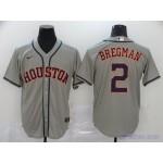 MLB Houston Astros #2 Alex Bregman Grey 2020 Nike Cool Base Jersey