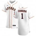 Men's Houston Astros #1 Carlos Correa Nike White Home 2020 Authentic Player MLB Jersey