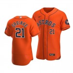 Men's Houston Astros #21 Zack Greinke Nike Orange Alternate 2020 Authentic Team MLB Jersey