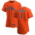 MLAstrosMan400369Men's Houston Astros #1 Carlos Correa Nike Orange Alternate 2020 Authentic Team MLB Jersey