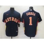 Houston Astros #1 Carlos Correa Navy Cool Base Jersey