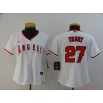 Women Los Angeles Angels #27 Mike Trout White 2020 Nike Cool Base Jersey