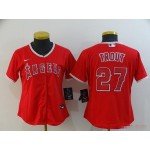 Women Los Angeles Angels #27 Mike Trout Red 2020 Nike Cool Base Jersey
