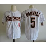Men's Throwback Houston Astros #5 Jeff Bagwell White Pinstripes Cooperstown Collection Jersey
