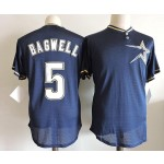 Men's Houston Astros #5 Jeff Bagwell Navy throwback Mesh Fabric Jersey