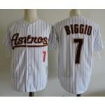 Men's Throwback Houston Astros #7 Craig Biggio White Pinstripes Cooperstown Collection Jersey