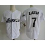 Men's Throwback Houston Astros #7 Craig Biggio White Cooperstown Collection Jersey