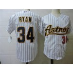 Men's Throwback Houston Astros #34 Nolan Ryan White Pinstripes Cooperstown Collection Jersey