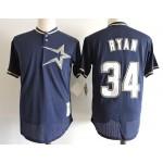 Men's Throwback Houston Astros #34 Nolan Ryan Navy throwback Mesh Fabric Jersey