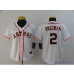 Women Houston Astros #2 Alex Bregman White 2020 Nike Cool Base Jersey