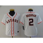 Youth Houston Astros #2 Alex Bregman White 2020 Nike Cool Base Jersey