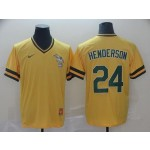 MLB Oakland Athletics #24 Rickey Henderson Yellow Nike Throwback Jersey