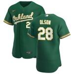 Men's Oakland Athletics #28 Matt Olson Nike Kelly Green Alternate 2020 Authentic Player MLB Jersey