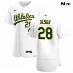 Men's Oakland Athletics #28 Matt Olson Nike White Home 2020 Authentic Player MLB Jersey