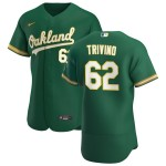 Men's Oakland Athletics #62 Lou Trivino Nike Kelly Green Alternate 2020 Authentic Player MLB Jersey