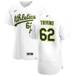 Men's Oakland Athletics #62 Lou Trivino Nike White Home 2020 Authentic Player MLB Jersey