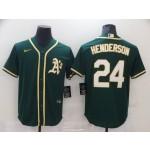 Men's Oakland Athletics #24 Henderson Green Game 2021 Nike MLB Jersey