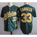 Men's Throwback Oakland Athletics #33 Jose Canseco Green Cooperstown Collection MLB Jersey