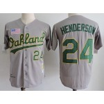 Men's Throwback Oakland Athletics #24 Rickey Henderson Grey 1989 Mitchell & Ness Jersey