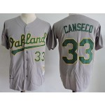 Men's Throwback Oakland Athletics #33 Jose Canseco Grey 1989 Mitchell & Ness Jersey