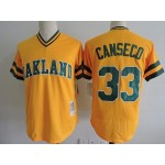 Men's Throwback Oakland Athletics #33 Jose Canseco Yellow Cooperstown Collection MLB Jersey