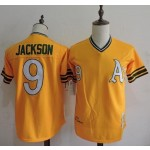 Men's Throwback Oakland Athletics #9 Reggie Jackson Yellow Cooperstown Collection MLB Jersey