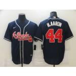 Men's Atlanta Braves #44 Hank Aaron Navy Blue Stitched MLB Cool Base Nike Jersey