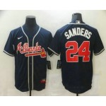Men's Atlanta Braves #24 Deion Sanders Navy Blue Stitched MLB Cool Base Nike Jersey