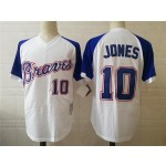 Men's Throwback Atlanta Braves #10 Chipper Jones White 1974 Mitchell & Ness Jersey
