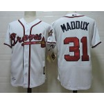 Men's Throwback Atlanta Braves #31 Greg Maddux White Jersey