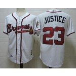 Men's Throwback Atlanta Braves #23 David Justice White Jersey