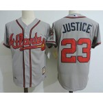 Men's Throwback Atlanta Braves #23 David Justice Grey Jersey