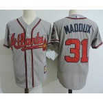 Men's Throwback Atlanta Braves #31 Greg Maddux Grey Jersey