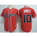 Men's Throwback Atlanta Braves #10 Chipper Jones Red Jersey