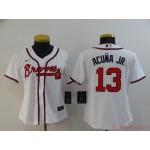 Women Atlanta Braves #13 Ronald Acuna Jr. White 2020 Nike Cool Base Jersey