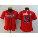 Women Atlanta Braves #13 Ronald Acuna Jr. Red 2020 Nike Cool Base Jersey