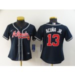 Women Atlanta Braves #13 Ronald Acuna Jr. Navy 2020 Nike Cool Base Jersey