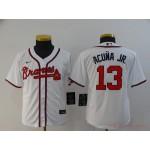 Youth Atlanta Braves #13 Ronald Acuna Jr. White 2020 Nike Cool Base Jersey