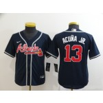 Youth Atlanta Braves #13 Ronald Acuna Jr. Navy Nike Jersey