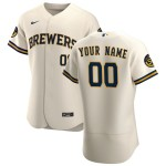 Men's Milwaukee Brewers Custom Nike Cream Home 2020 Authentic Flexbase MLB Jersey(Name and number remark in comment column)