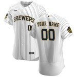 Men's Milwaukee Brewers Custom Nike White Home 2020 Authentic Flexbase MLB Jersey(Name and number remark in comment column)