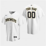 Men's Milwaukee Brewers Custom White Alternate Cool Base Jersey(Name and number remark in comment column)
